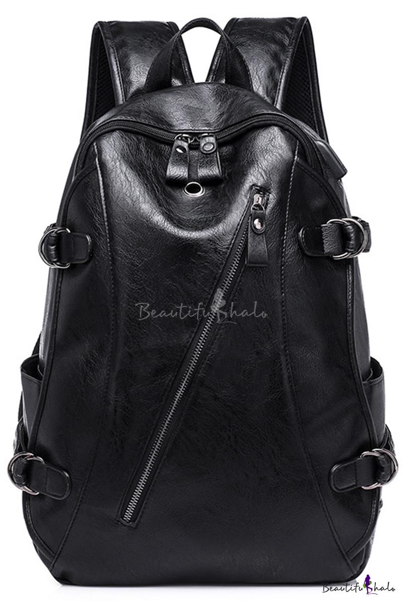 Unisex Fashion USB Solid Color Zipper Front Black PU Leather Business Laptop Backpack 30*45 CM