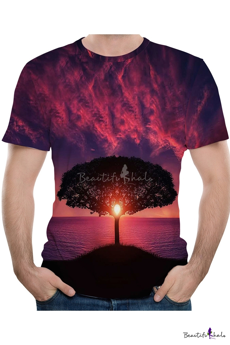 Landscape Fashionable T Shirt,for Men,S