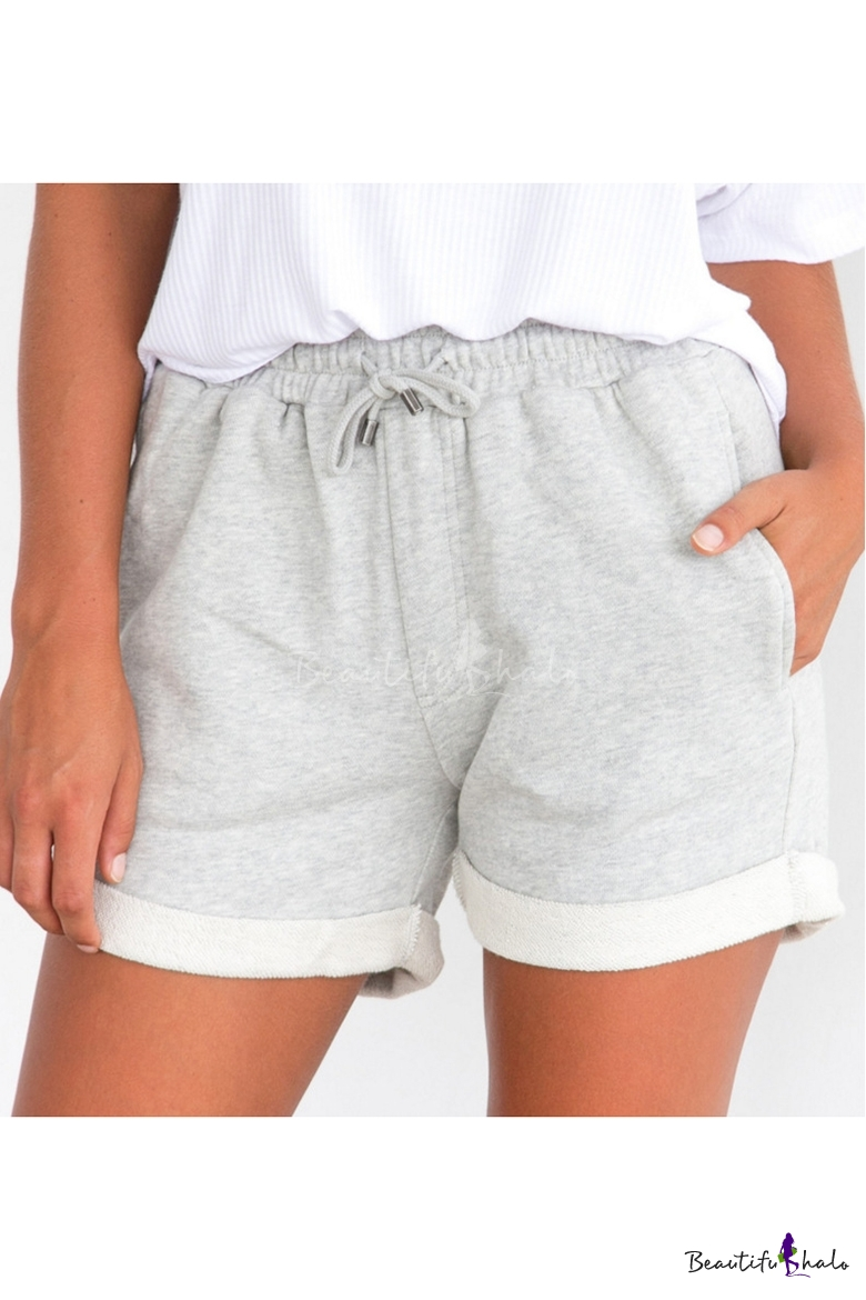 legare impermeabile cucire  Womens Simple Solid Color Drawstring Waist Sport Sweat Shorts -  Beautifulhalo.com