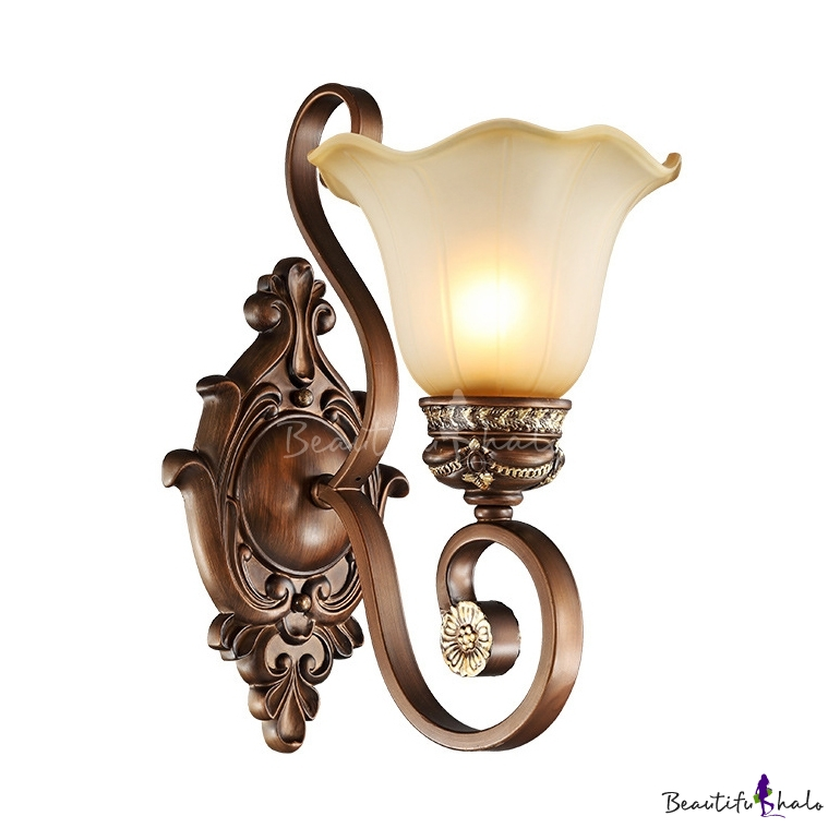 1 Light Flower Wall Antique Style Metal Sconce In Rust For Dining Room Hallway