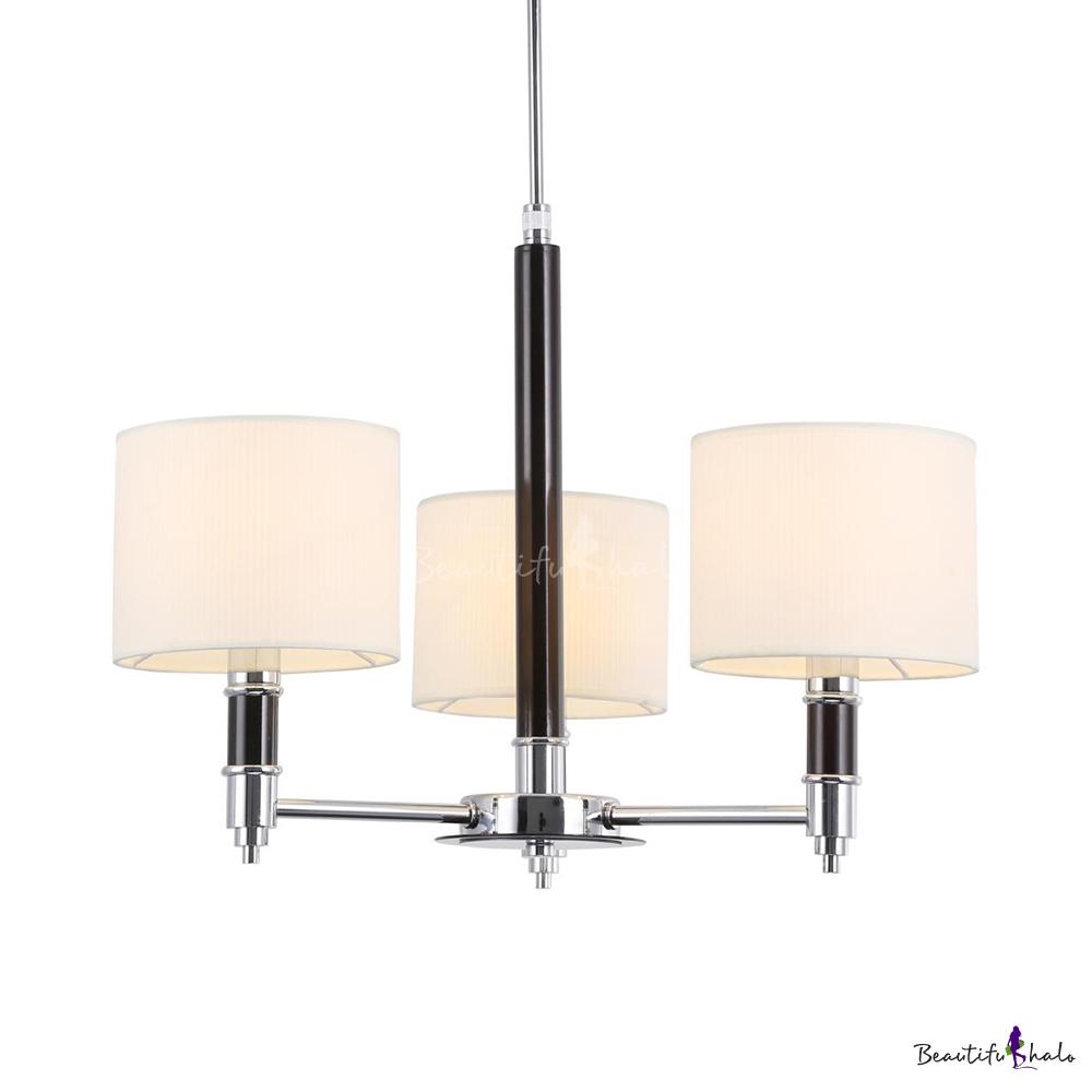Fabric Metal Drum Shade Chandelier Living Room 3 Lights Traditional Pendant Light Chrome