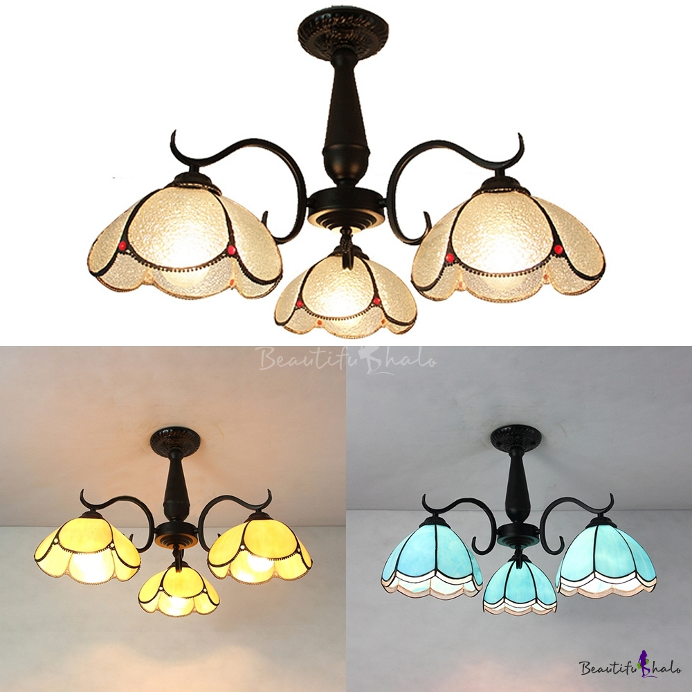 Antique Style Ceiling Mount Light 3 Lights Yellow/Clear/Blue Glass Semi Flush Ceiling Lamp Living Room