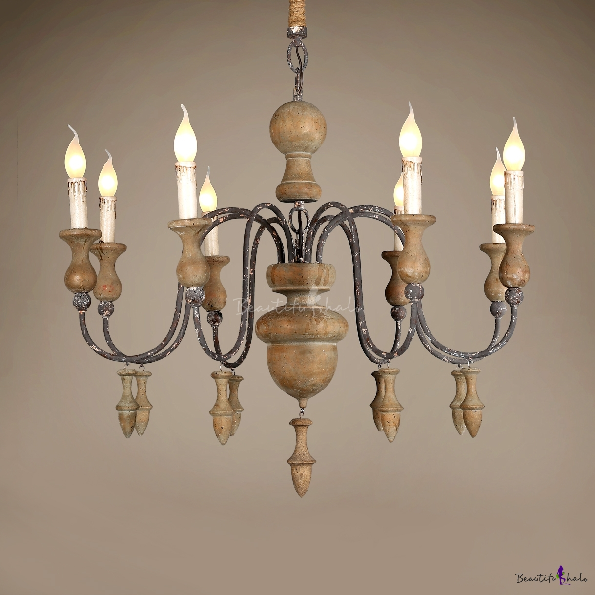 European Style Pendant Lamp With Candle 8 Lights Wood And Metal Chandelier Light For Coffee