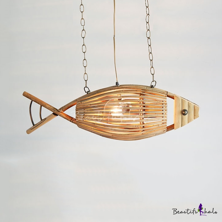 Bamboo Fish Chandelier Light Tropical Style 1 Suspension For Restaurant 10