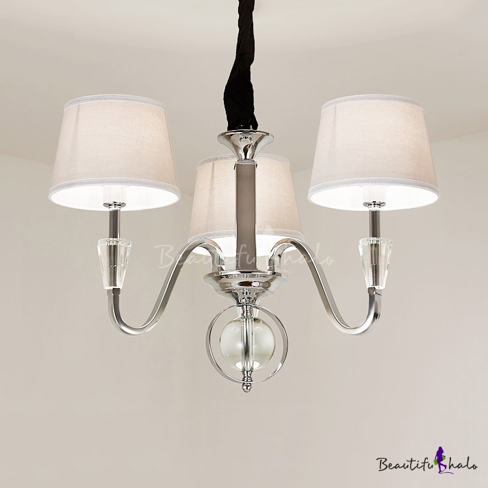 Bedroom Drum Shade Pendant Lamp Metal Fabric 3/6 Lights Modern Style Chrome Chandelier Crystal