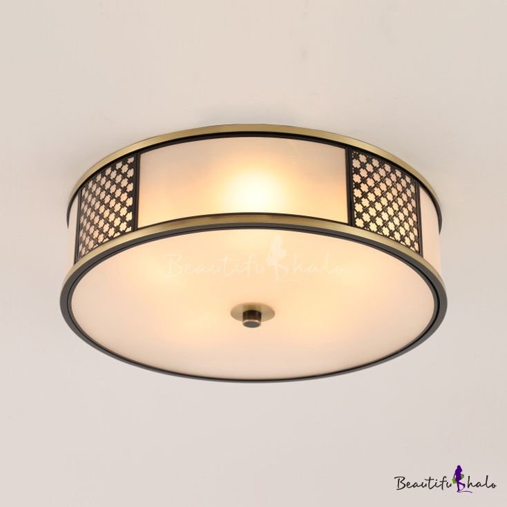 4/5 Lights Round Flush Mount Light Simple Style Frosted Glass Ceiling Fixture Living Room