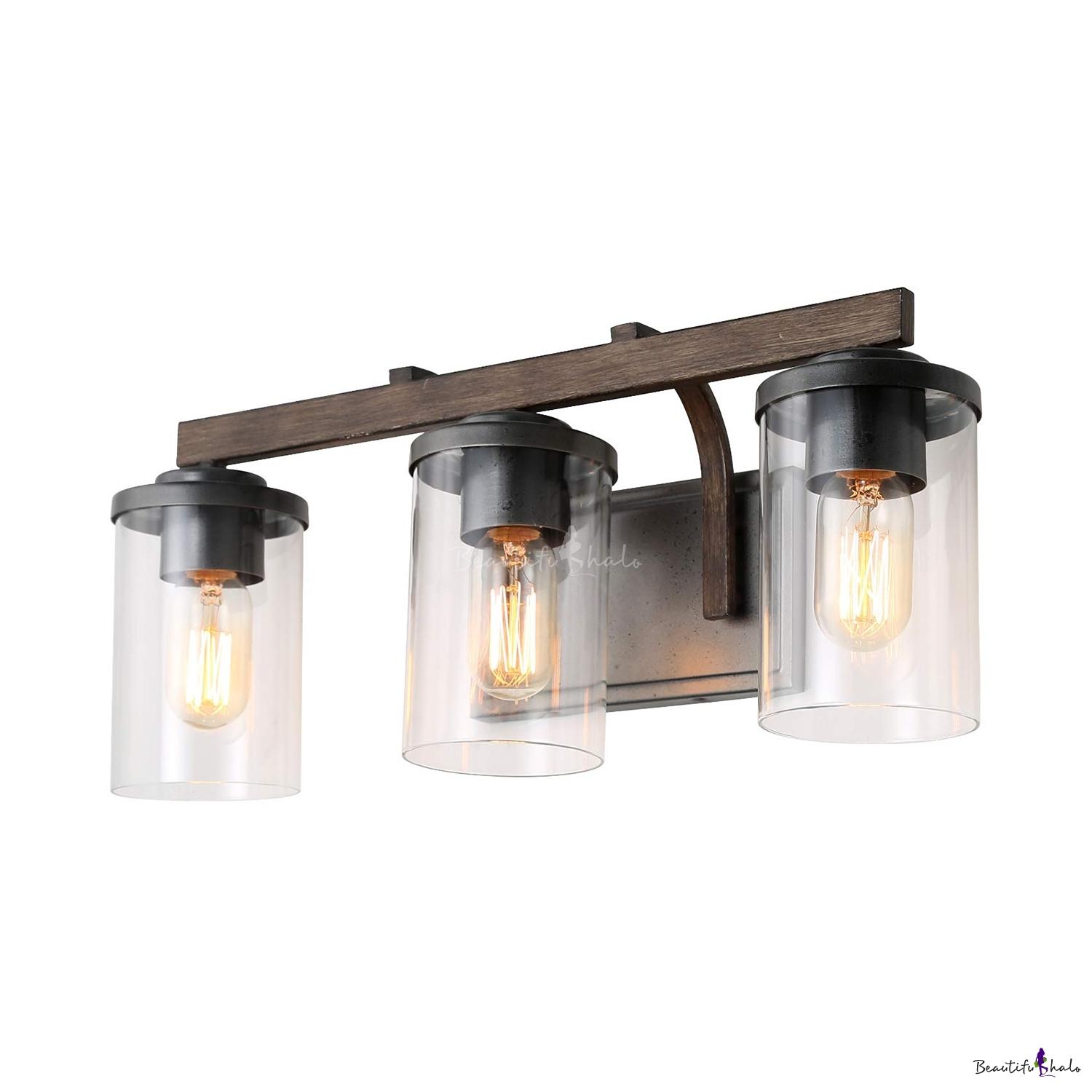 Sensational Industrial Sconce Wall Light With Cylinder Shade 3 Lights Clear Glass Wall Light For Bathroom Mirror Download Free Architecture Designs Viewormadebymaigaardcom