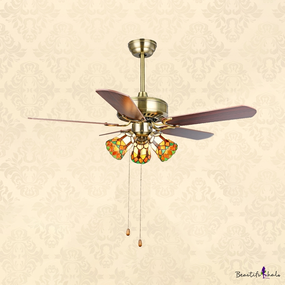 52 Inch Antique Ceiling Fan Bell Shade