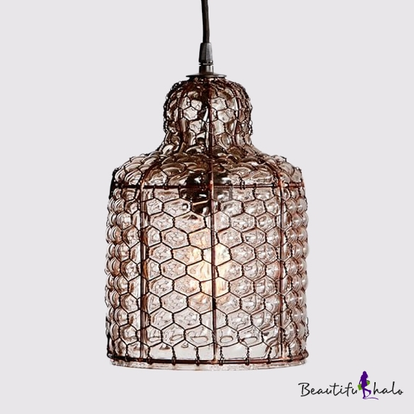 Honeycomb Pendant Light: 1 Light Honeycomb Shape Pendant Light Rustic Style Bubble