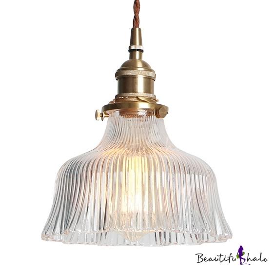 Bowl Shade Living Room Pendant Lamp Flute Glass One Light Modern Stylish Hanging Light Brass