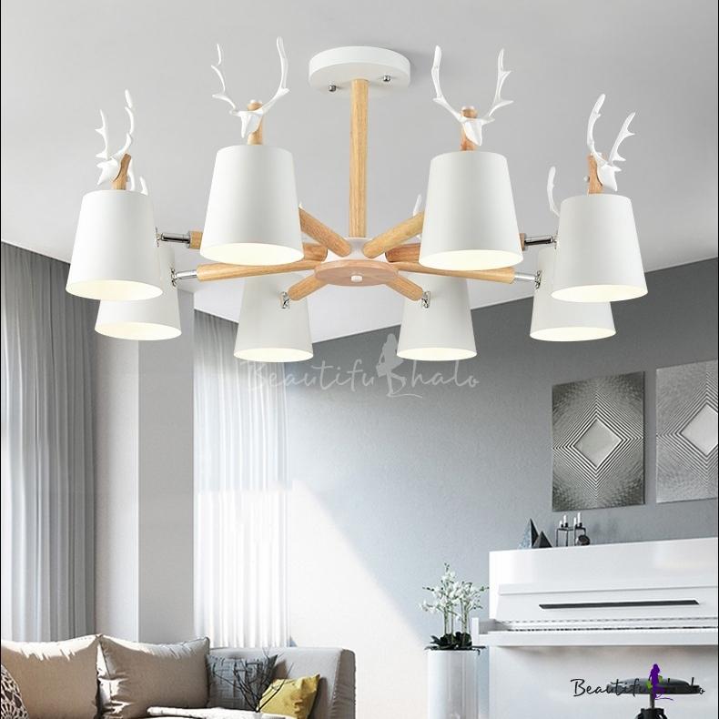Modern Black/White Chandelier Antlers 3/8 Lights Metal Hanging Light Living Room