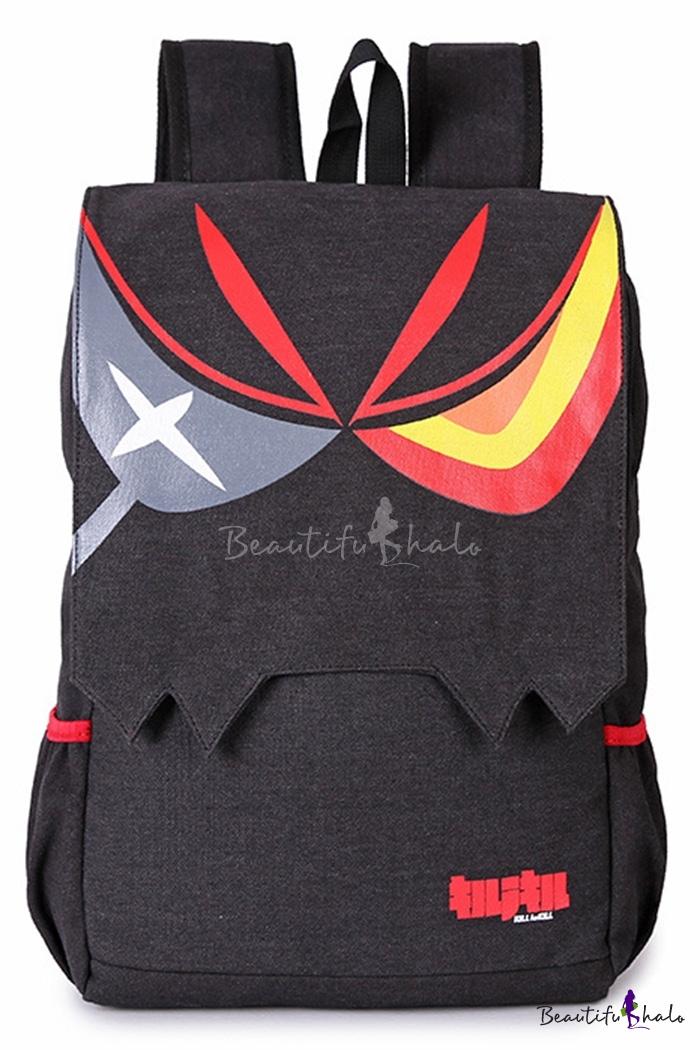 Popular Cosplay Eye Printed Black Canvas Laptop Bag School Backpack 29.5*12*46 CM