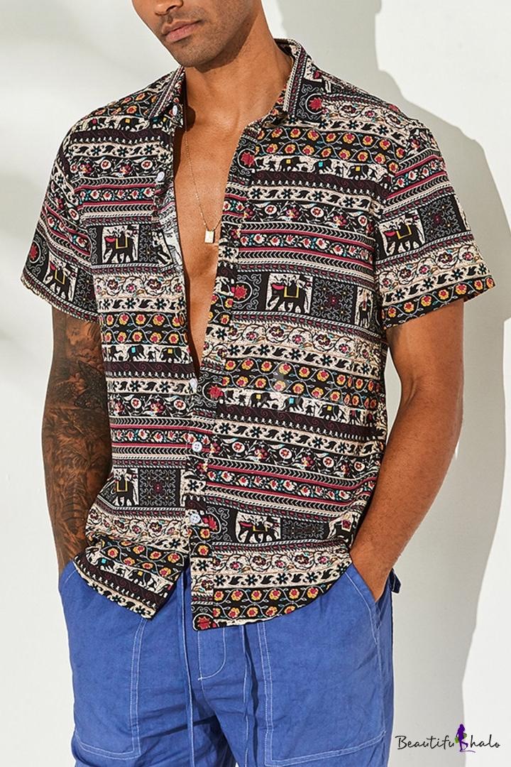 YYear Men Beach Lapel Neck Slim Short Sleeve Printed Summer Button Down Shirt