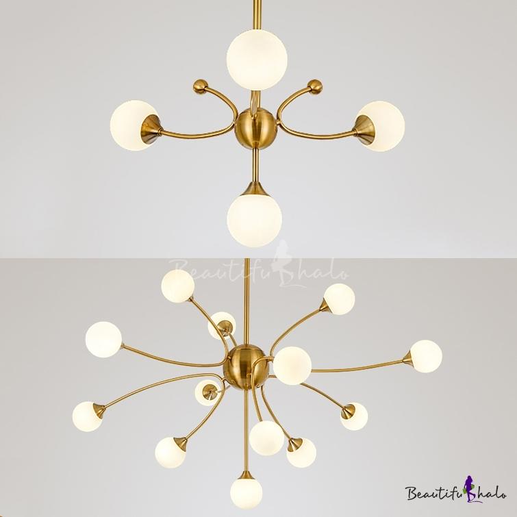Opal Glass Orb Shade Pendant Light Bedroom Study Room 4/13 Lights Modern Stylish Chandelier Gold