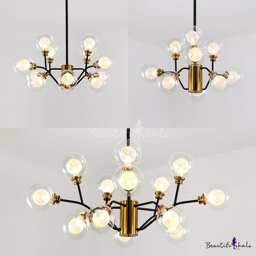 Modern Plant Shade Chandelier Glass & Metal 9/12/15 Lights Brass Hanging Lamp Living Room