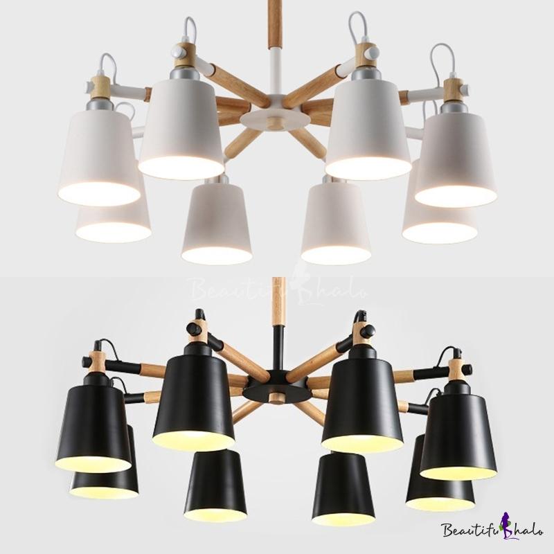 8 Lights Bucket Chandelier Modern Metal Pendant Lamp White/Black Living Room