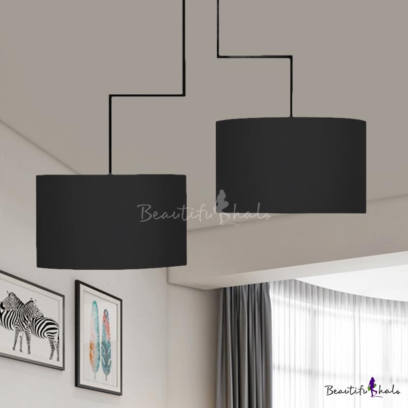 Modern Black/Coffee/White Chandelier Drum Shade 2 Lights Fabric Pendant Lamp Study Room