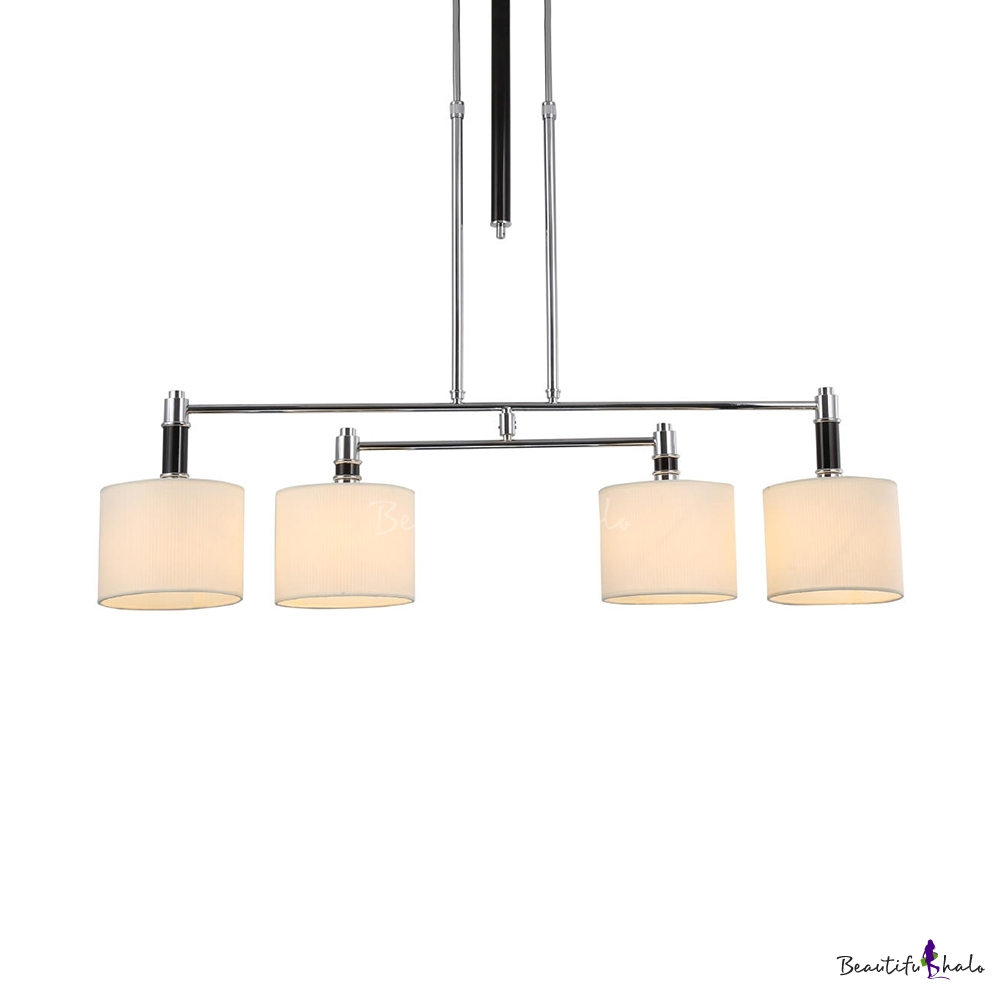 White Drum Shade Island Fixture 4 Lights Modern Fabric Metal Pendant Lamp Study Room