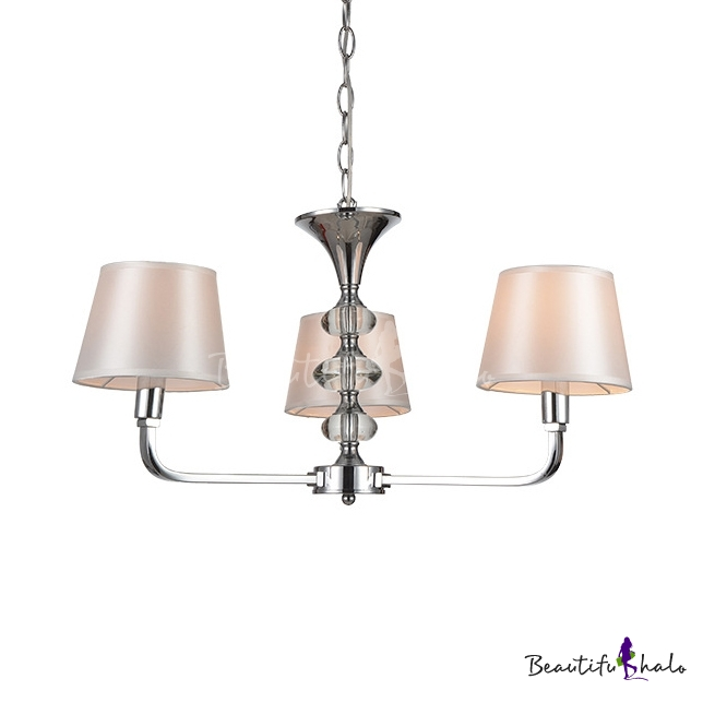 Tapered Shade Study Room Chandelier Metal 3 Lights Simple Style Pendant Lamp Chrome