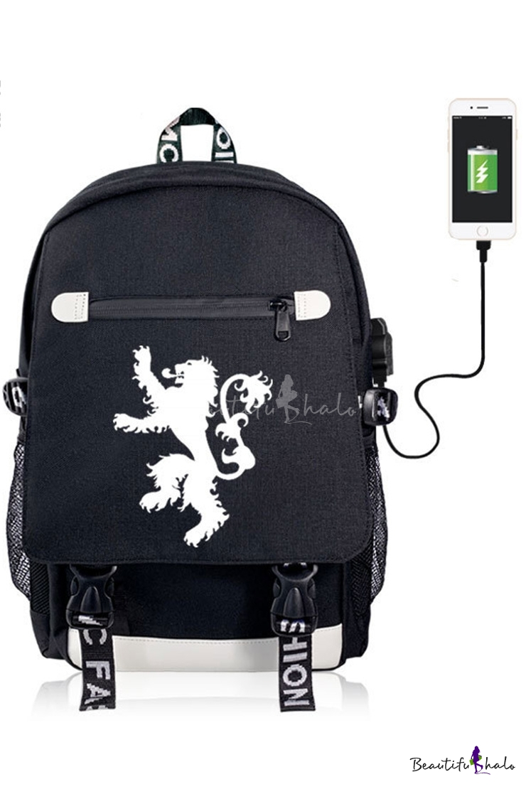 Fashion Animal Lion Wolf Printed Black Casual Zipper Laptop Backpack School Bag USB Charging 50*35*20 CM