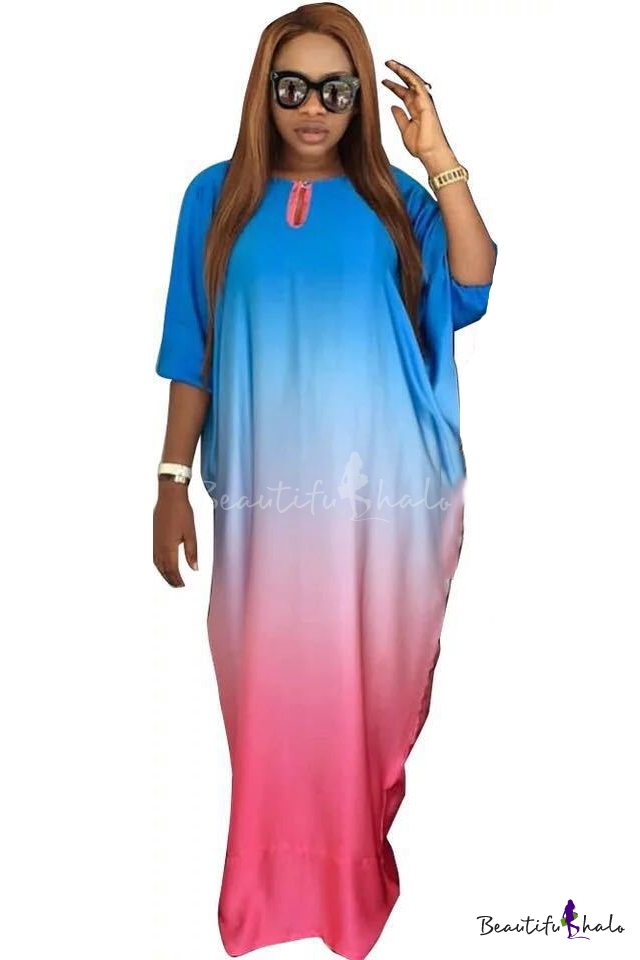 Cool Unique Ombre Color Blue Pink Round Neck Batwing Sleeve Maxi Shift Dress