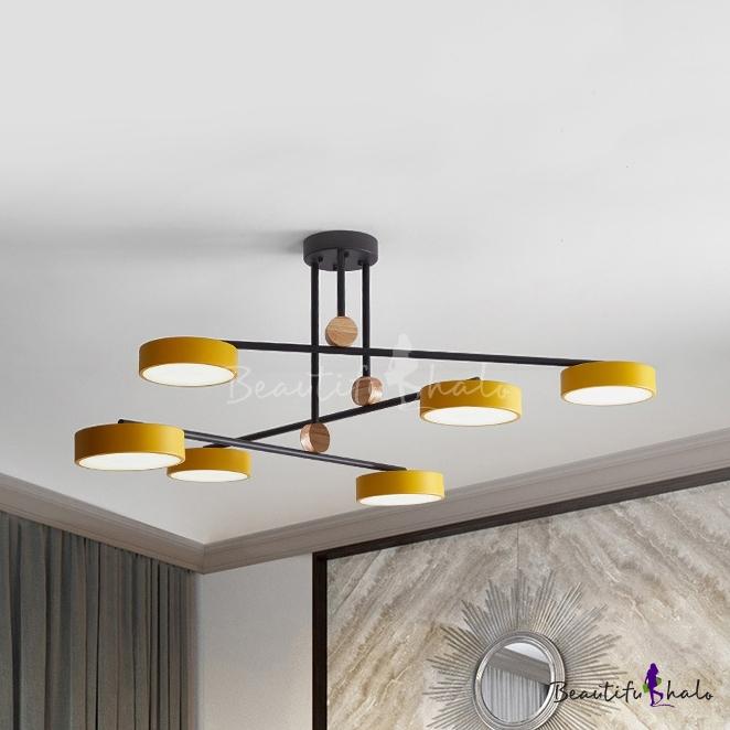 Art Deco Round Chandelier 6 Heads Acrylic Macaron Colored Pendant Light For Kindergarten Beautifulhalo Com