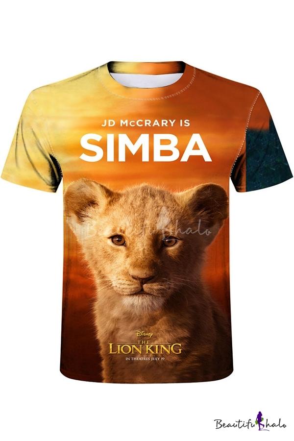 The lion king Simba Cartoon Women Men T-Shirt 3D Print Short Sleeve Tee Tops