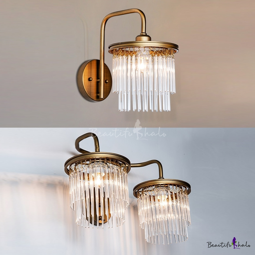 Drum Living Room Sconce Light Clear Crystal 1/2 Lights Modern Stylish Wall Lamp Gold Finish