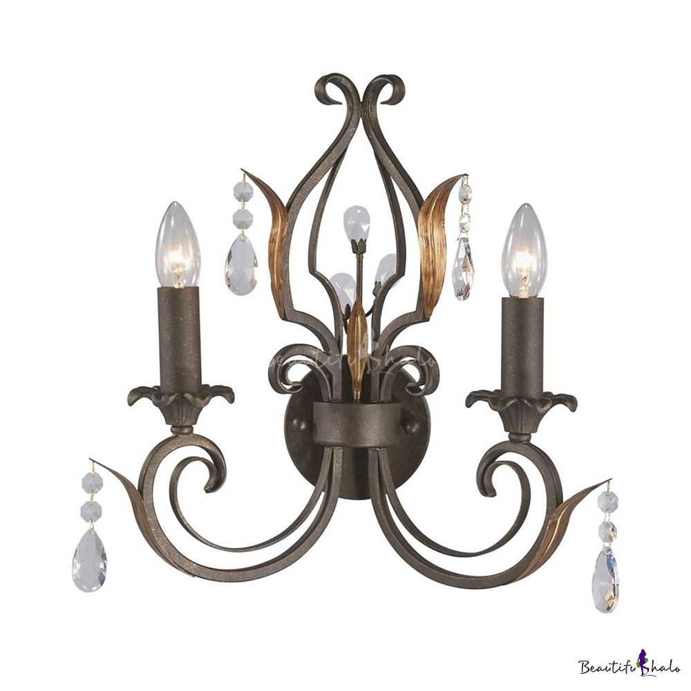 Candle Dining Room Sconce Light With Clea Crystal Iron 2 Lights American Rustic Wall Light Beautifulhalo Com