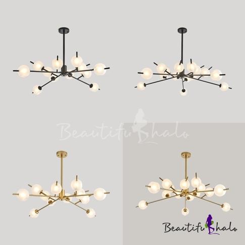 12/15 Lights Bubble Pendant Light Modern Stylish Glass Chandelier Black/Gold Living Room