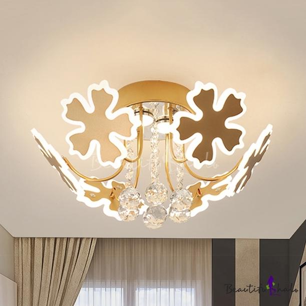 Living Room Petal Semi Flush Ceiling Light Crystal Ball Metal 6/8 Heads Modern Coffee/Gold Ceiling Fixture