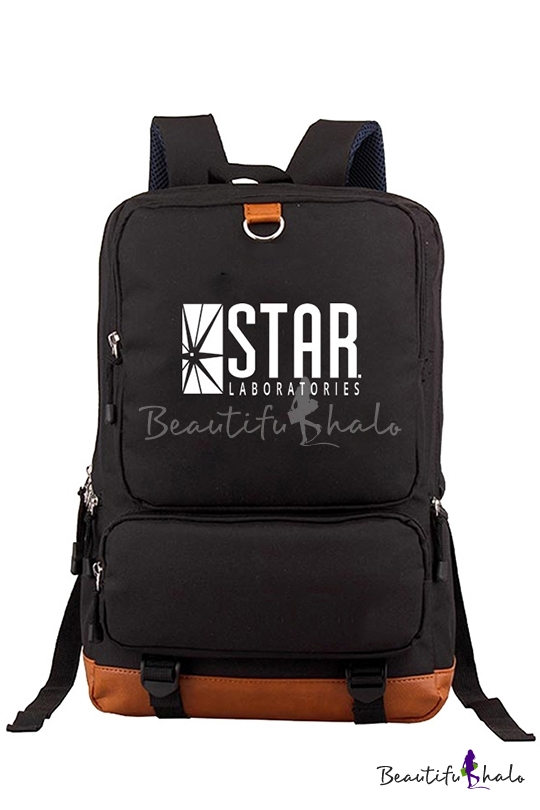 New Fashion Black Letter STAR Printed Students Laptop Bag Backpack 28*14*43cm