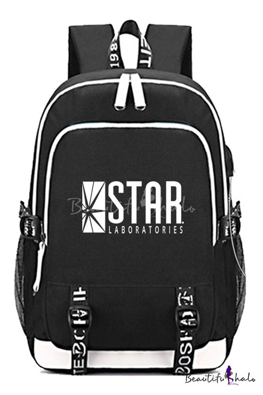 Popular Black Simple Letter Star Printed Creative USB Charge Laptop School Bag Backpack 30*15*44cm