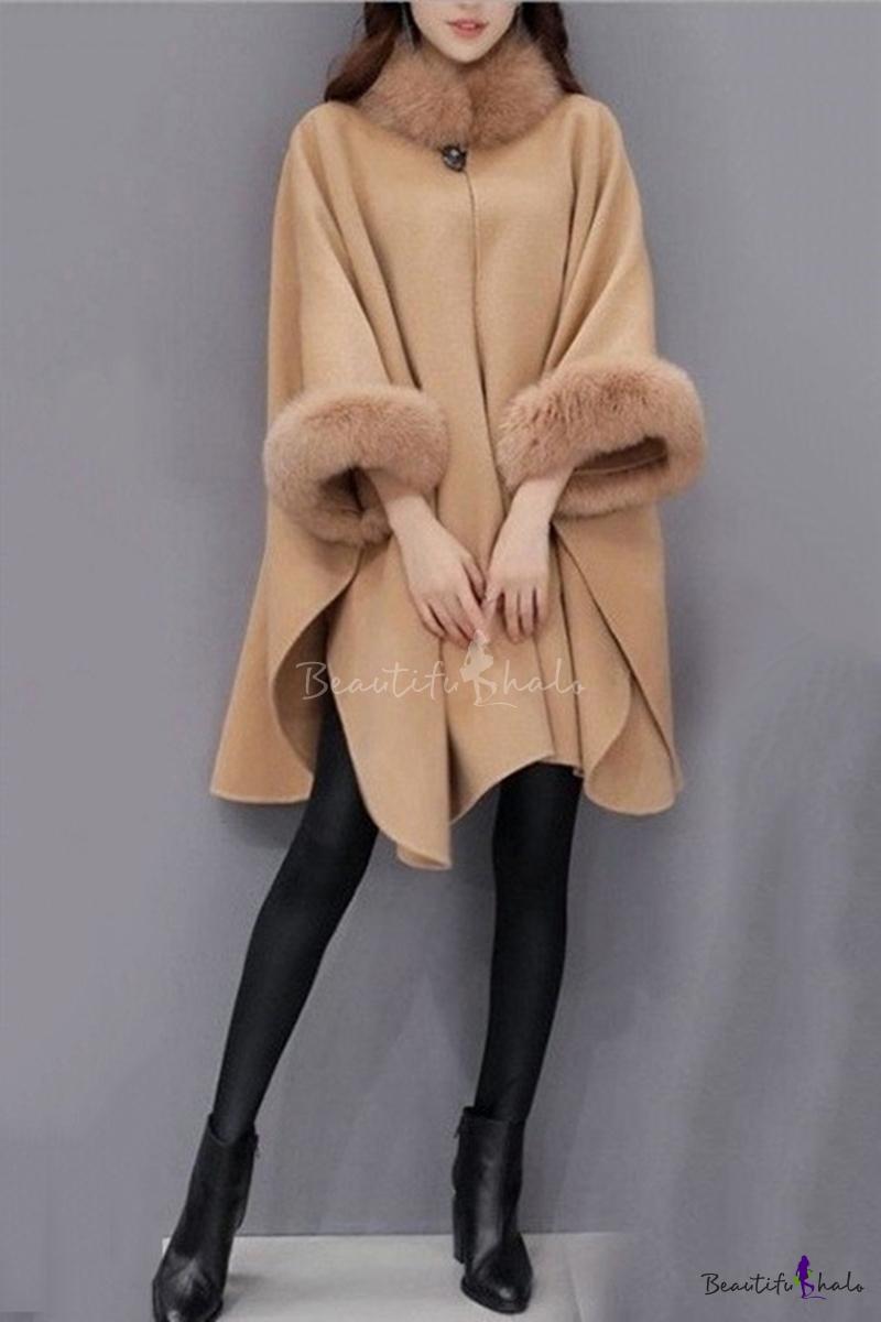 Fashionable Women's Faux Fur Collar Wool Plain Longline Cape Coat -  Beautifulhalo.com