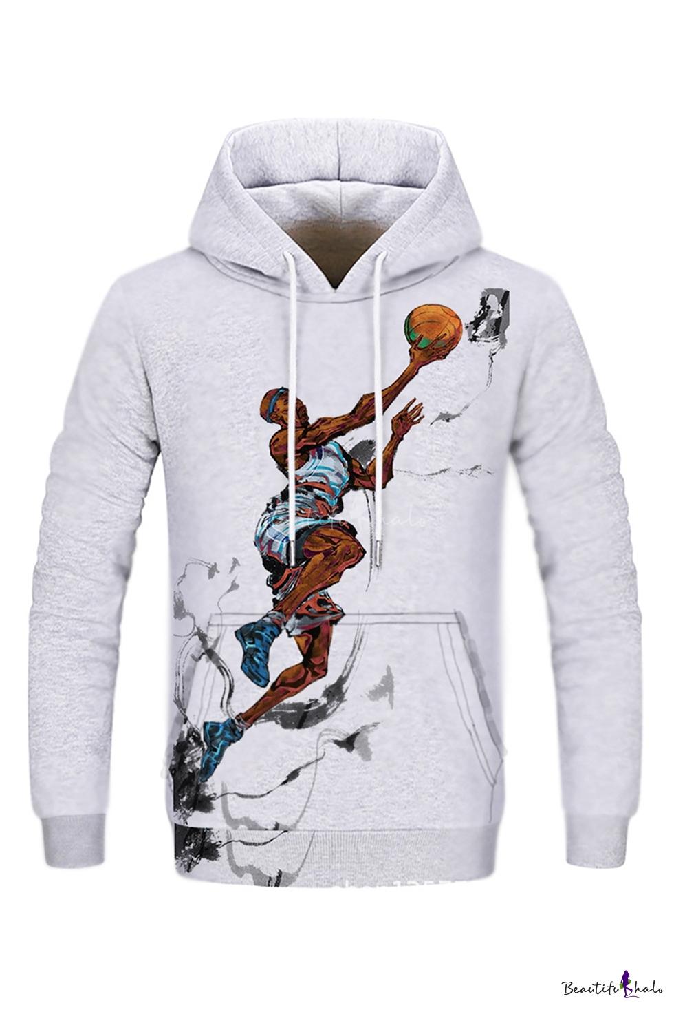 Hot Popular NBA Basketball Player Printed Long Sleeve Gray Drawstring Hoodie with Pocket