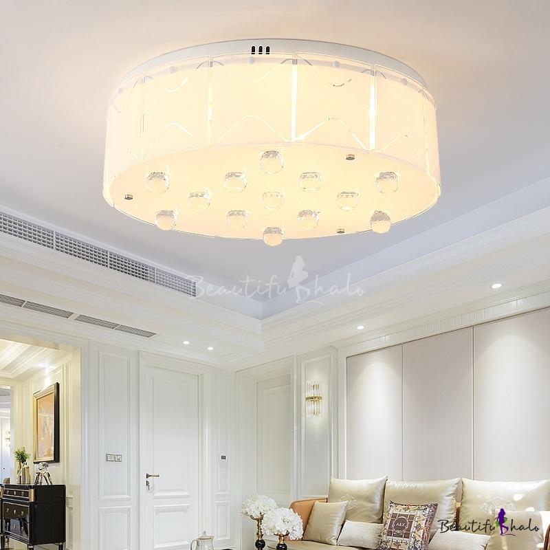 Living Room Drum Flush Mount Ceiling Light Crystal Accent Modern White Ceiling Light Fixture