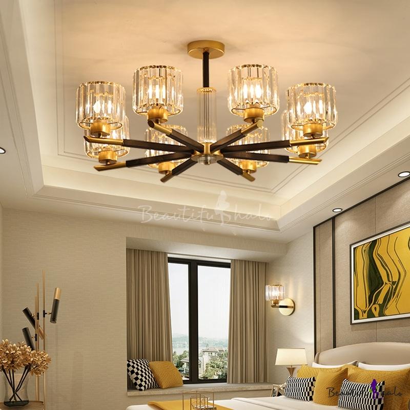 Black Brass Cylindrical Ceiling Chandelier Modern Crystal 3/6/8 Lights Ceiling Pendant Lights Living Room