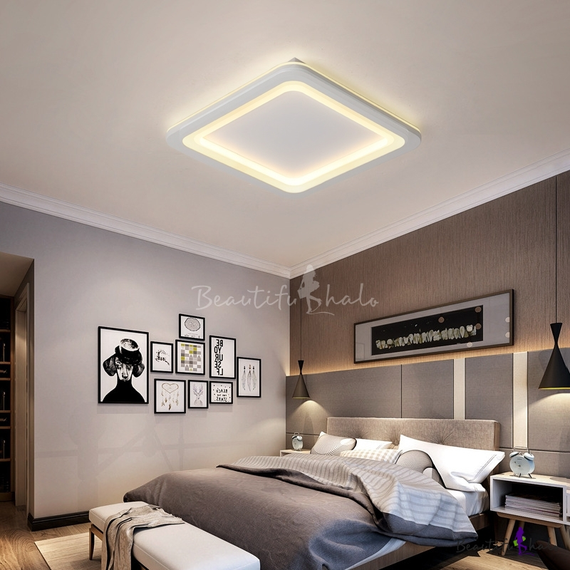 Metal Rounded Square Ceiling Flush Modern Simple Led Bedroom Ceiling Lights Fixture In White Beautifulhalo Com