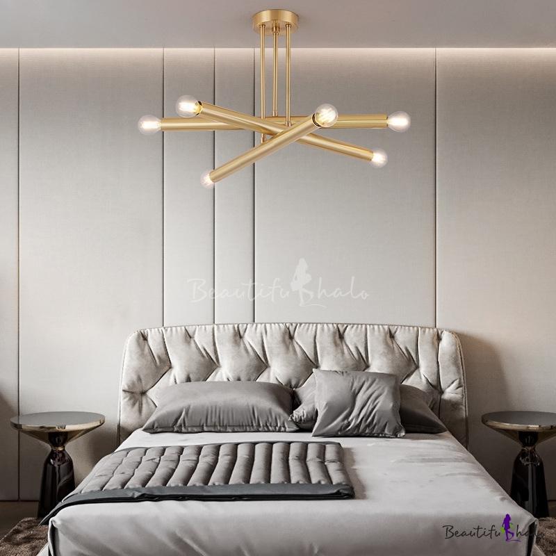 6 Bulb Metal Brass Hanging Lamp, Mid Century Modern Brass Chandelier