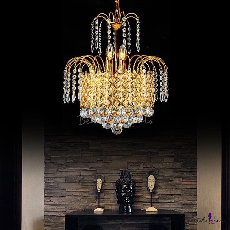 Gold Chain Crystal Ceiling Pendant Lights Modern Metal Drum Chandelier Pendant Light Living Room