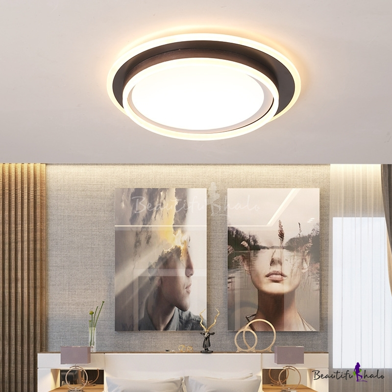 Modern Circle Flush Mount Fixture LED Acrylic Ceiling Lights Brown Living Room