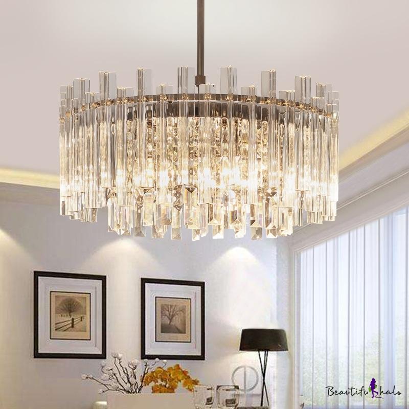 Unique Crystal Fringe Hanging Lights Contemporary 5 Light Round Pendant Chandelier Living Room