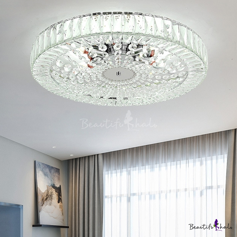 Round Crystal Close Ceiling Light Modern Metal Creative Living Room Ceiling Chandelier