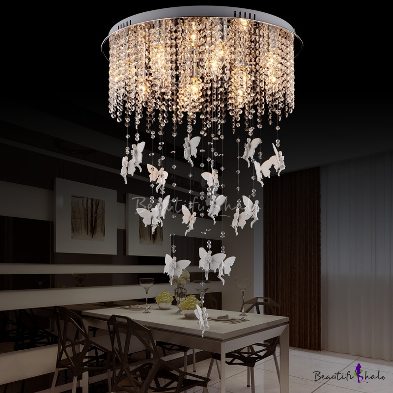 Novelty White Angel Ceiling Lights Contemporary Crystal Bead Ceiling Light Fixtures Living Room