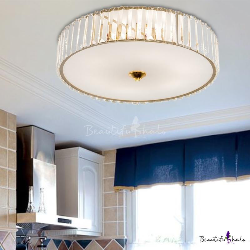 Gold Crystal Flush Mount Modern Metal Acrylic Close Ceiling Lighting Bedroom Living Room