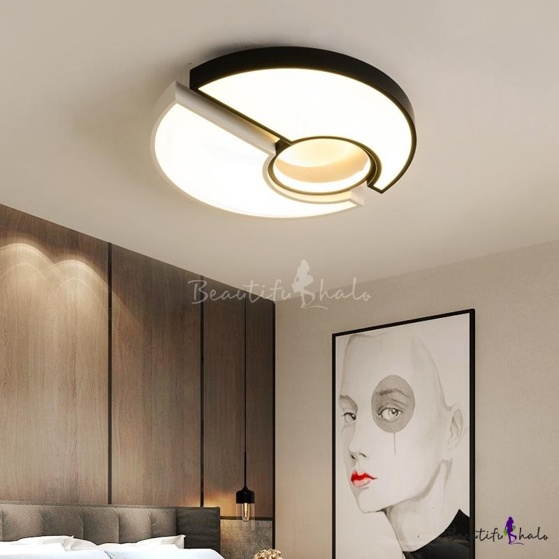 Modern Round LED Ceiling Light Acrylic Black/White Flush Mount Fixture Living Room
