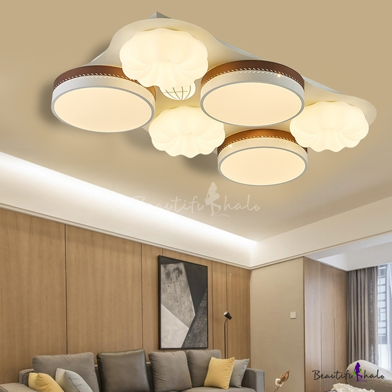4/6 Lights Drum Shade Flush Ceiling Lights Modern Acrylic Mount Fixture Living Room