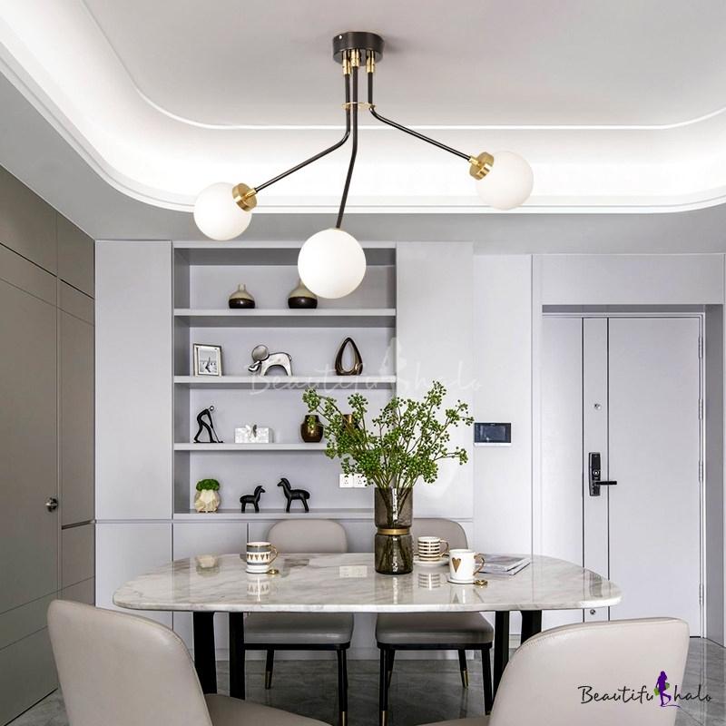 Branch Living Room Semi Flush Mount Metal 3/7 Light Modern Flush Mount Ceiling Light Black