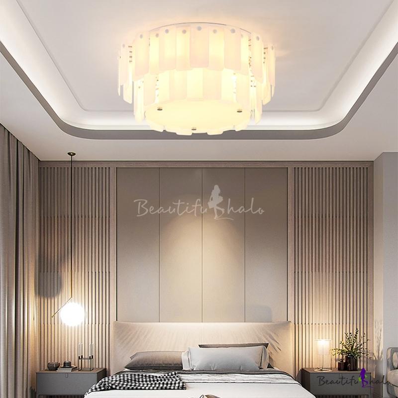 Modern Drum Flush Mount Ceiling Light Glass White Ceiling Light Fixture Living Room