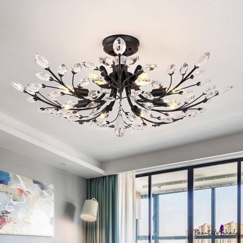 Matte Black Branch Semi Flush Chandelier Modern Crystal Metal Ceiling Lights Living Room
